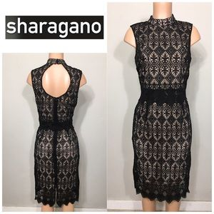 Sharagano black lace dress. NWOT